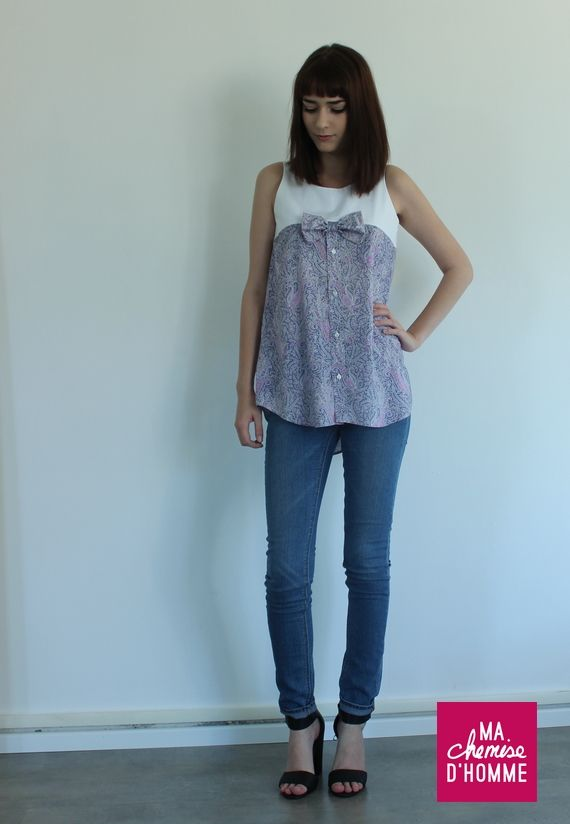 Ma chemise d'homme | Top Eva.  Repurposed clothes.  This website has lots of ideas.  Peruse their site.