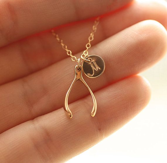 Tiny Gold Wishbone Necklace, Initial Disc Charm, Gold Filled Necklace - Bronze Wishbone Charm - Minimal Everyday Necklace