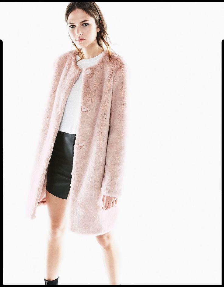 Bershka Georgia - Pink long hair coat