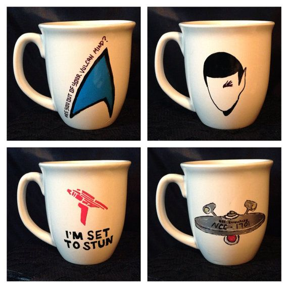 Star Trek inspired coffee mug set by KynasKreations on Etsy, $20.00