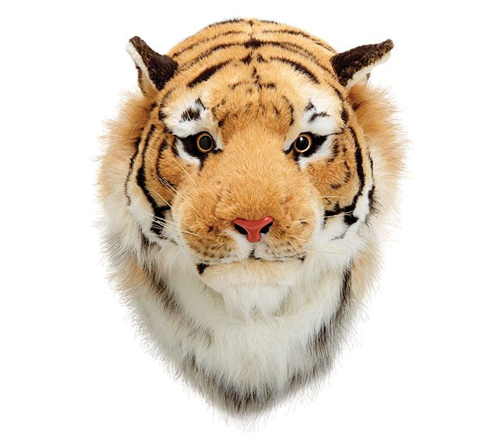 Create a fun focal point in a playroom with our #burtonandburton plush tiger head wall hanging. #tiger #playroom