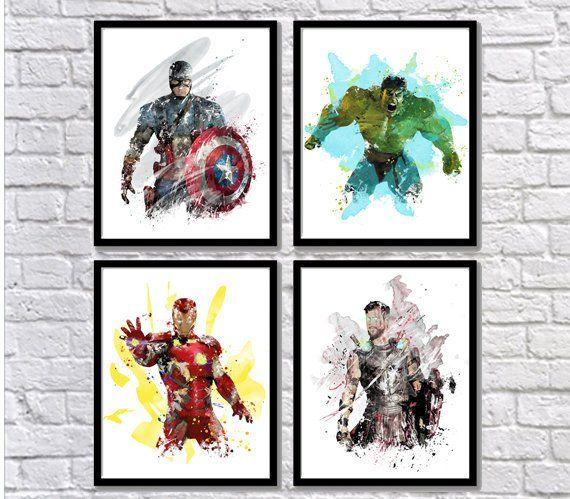 Captain Britain watercolour  Wall Picture Print  A4