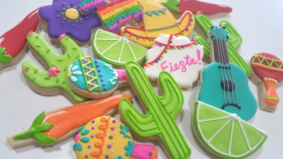Fiesta cookies, fiesta birthday party, Fiesta party favors,Fiesta party, Sombrero cookies, cactus cookies, maracas, pinata cookies, Chile