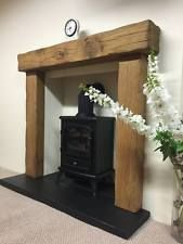 """solid rustic oak beam fire surround  with 54"""" mantle from £170.00"""