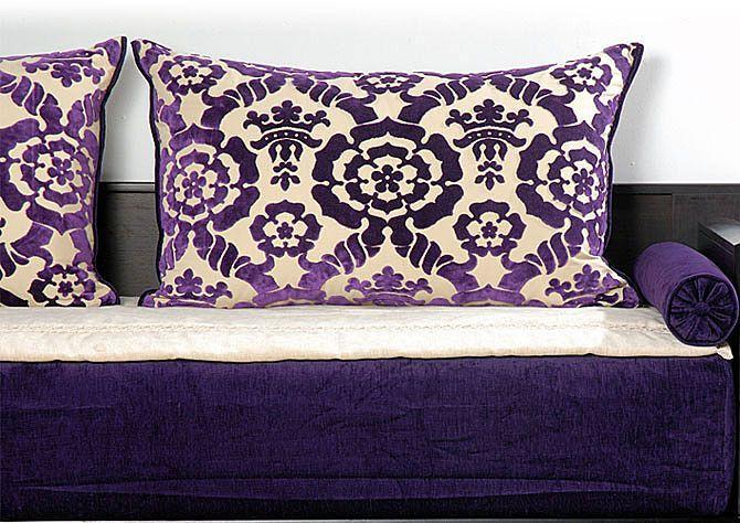 tissus houria aubergine royale salon marocain richbond. Black Bedroom Furniture Sets. Home Design Ideas