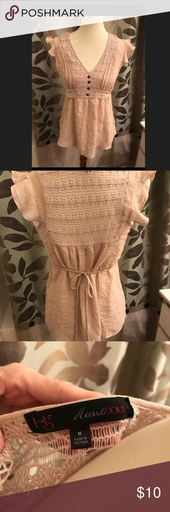 Heart and Soul Smock Top Beige gauze, capped sleeves and waist tie. Tops