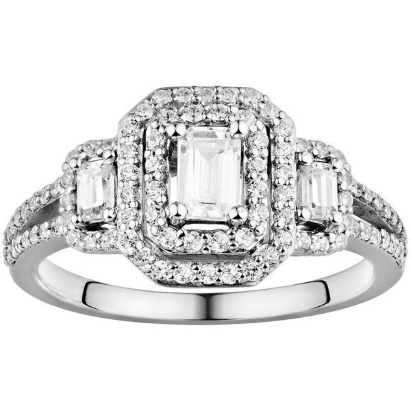 Simply Vera Vera Wang Diamond Halo Engagement Ring in 14k White Gold... ($8,000) ❤ liked on Polyvore featuring jewelry, rings, white, engagement rings, white gold jewellery, band engagement rings, halo diamond engagement rings and emerald cut ring