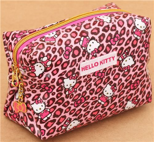 pink Hello Kitty cosmetic case with leopard pattern Japan