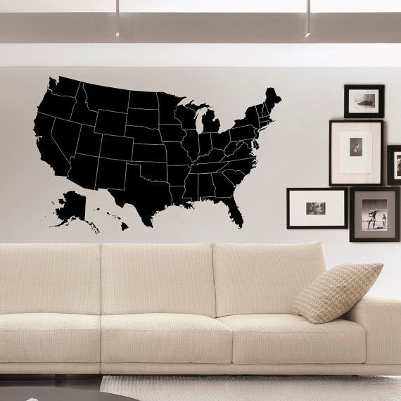 Us Map Wall Decals Geographic Vinyl Stickers United States Map Wall Decal Home Decor For