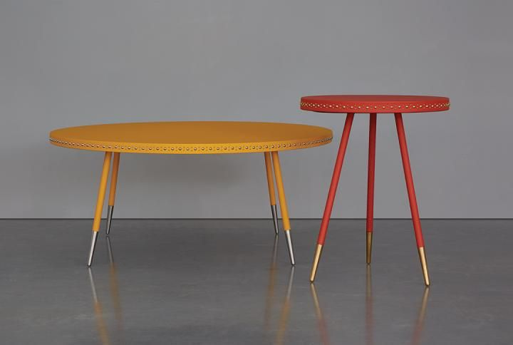 Yellow leather and nickel stud coffee table with coral leather and brass stud side table  http://bethangray.com/products/stud-occasional-1