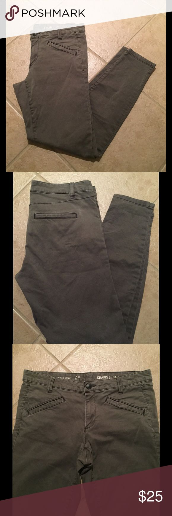 GAP Super Skinny Dark Gray Khakis Dark gray, olive-toned, khaki skinnies with welt back pockets. Great condition! Gap Pants Skinny