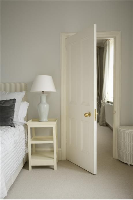 Like the combination of pale blue and white for a Bedroom. An inspirational image from Farrow and Ball