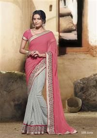 Black & white combination saree merge by peach pallav with diamond work … gives a celebrity look!