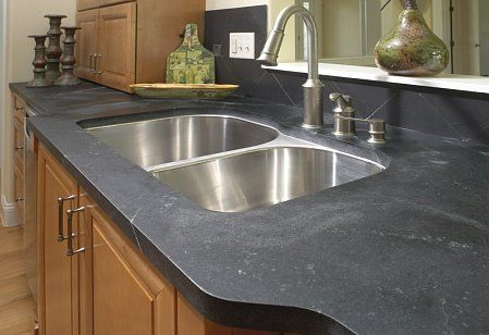 Soapstone counters and an undermount sink