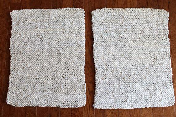 White & Cream Placemats Knitted Artisan by HandiworkinGirls