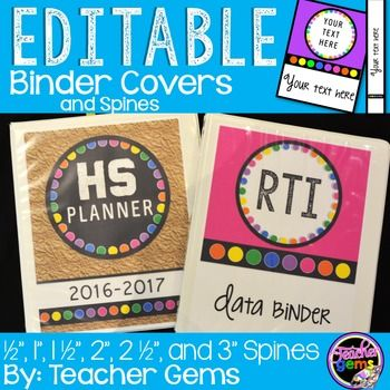 Are you looking for some adorable binder covers and spines that are completely editable? Look no further! Pick one of 27 different binder cover options from black and browns to bright colors all of which include bright rainbow dot accents. Matching spines are included for 1/2 inch, 1 1/2 inch, 2 inch, 2 1/2 inch and 3 inch binders. #TeacherGems