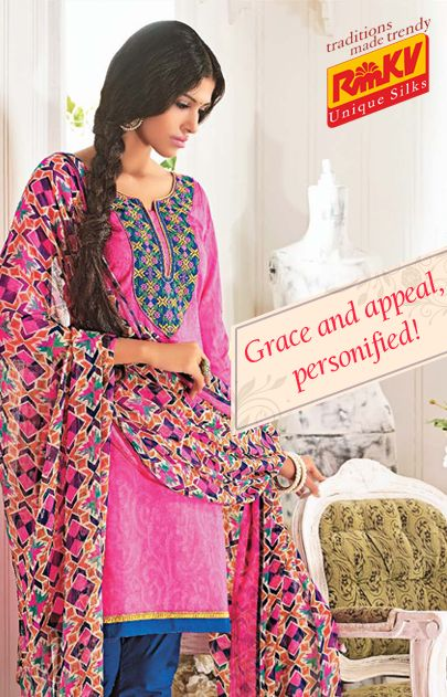 This pink and blue churidar-kurta material with cotton neck embroidery will look great as a Churidar or a Patiala set as well. The printed chiffon dupatta makes it all the more graceful. Click to order - https://www.rmkv.com/product/unstitched2620-16517