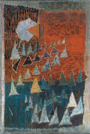 Háromszögek felvonulása, 1981, olaj, vászon, 84 x 75 cm, Magyar Nemzeti Galéria