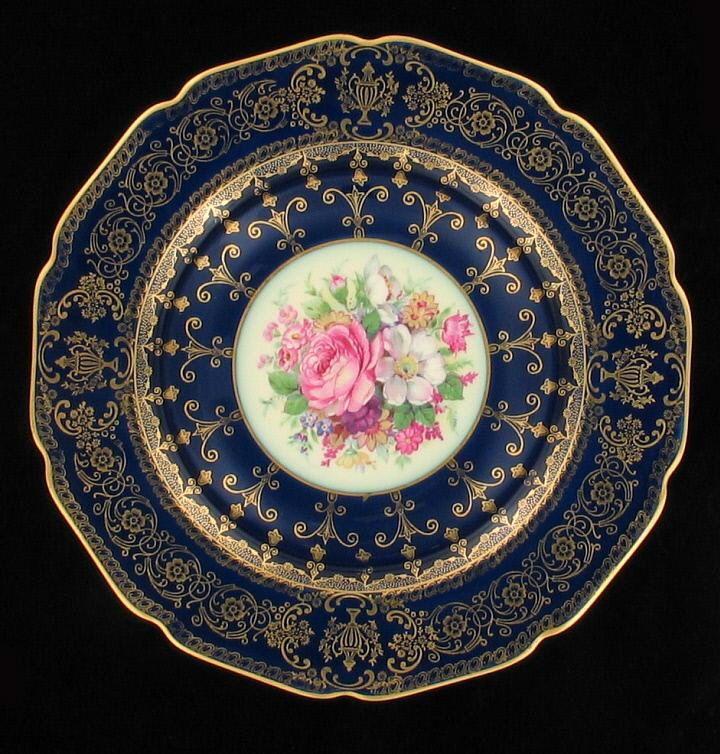 Vintage Rosenthal Ivory China Plate Roses Cobalt Blue Gilt Bavaria Germany
