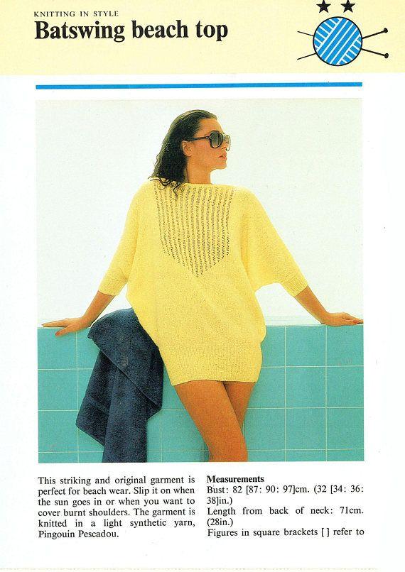 PDF 1980s Womens Ladies Knitting Pattern Summer Larger Sizes