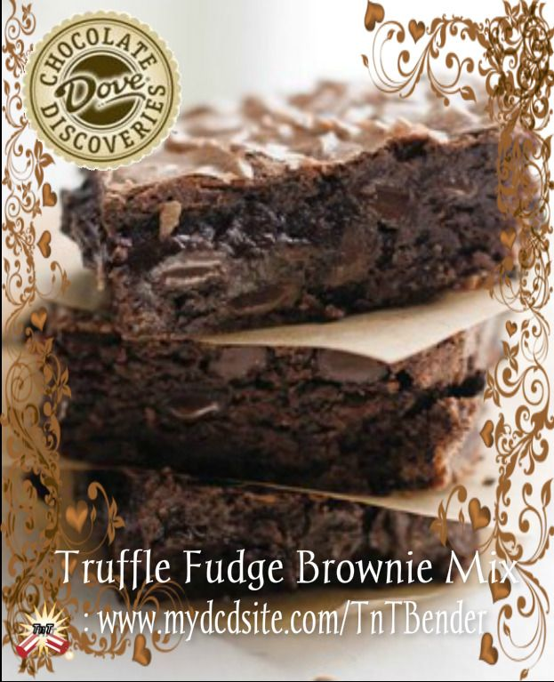 DOVE CHOCOLATE DISCOVERIES: Truffle Fudge Brownies~ YUMMILICIOUS~This is a fantasy of chocolate-on-chocolate loaded with a half-pound of our premium dark chips www.mydcdsite.com/TnTBender