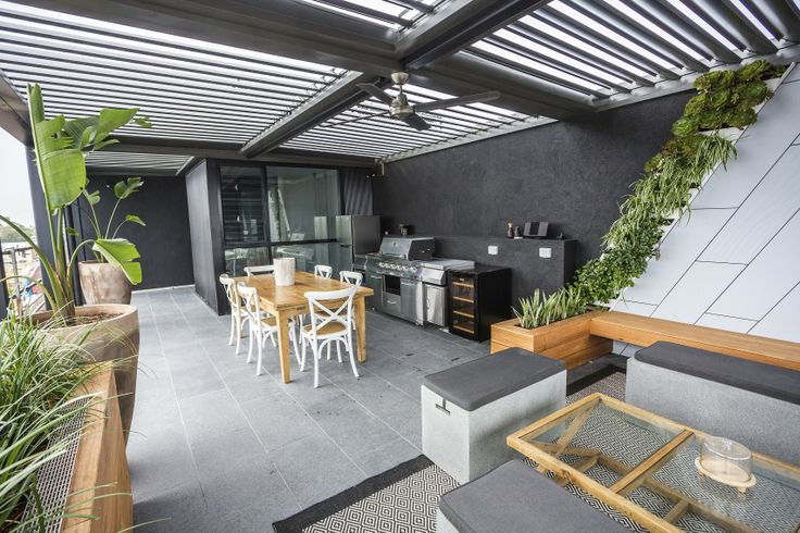 This stylish outdoor terrace appeared on The Block Fans vs. Faves. It features the Black Granite Flamed Tile from Beaumont Tiles. #TheBlock