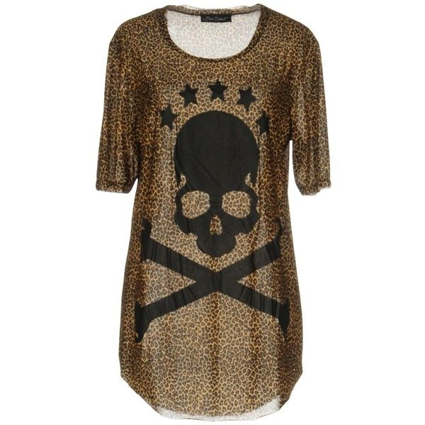 Bad Spirit T-shirt ($130) ❤ liked on Polyvore featuring tops, t-shirts, camel, print t shirts, cotton jersey, cotton tees, camel t shirt and pattern tees