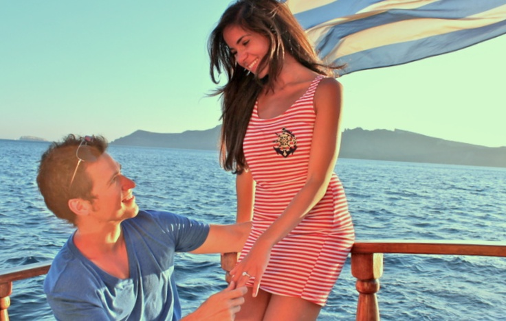 My love proposed to me while the boat was sailing away from the most beautiful #sunset in the world...Oia's #sunset. #Santorini