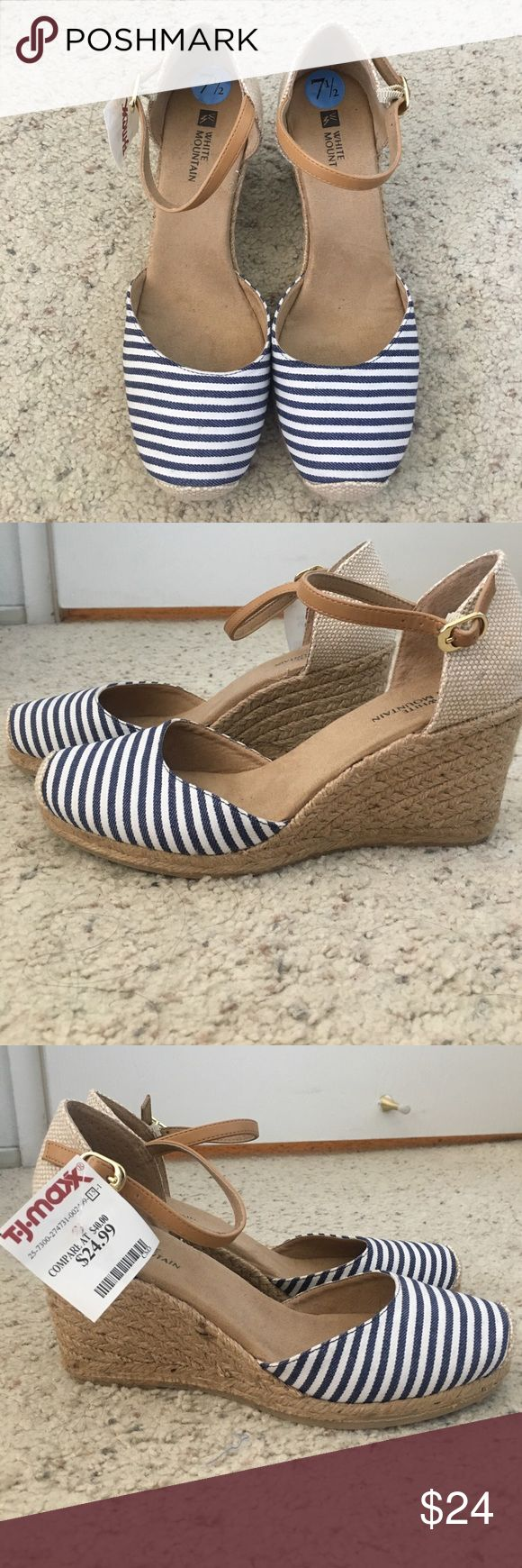 White Mountain Wedges w/ Tan Strap - Navy & White Brand New with tag still attached! Super cute navy blue and white wedges! Perfect height, not too high and very comfortable!! White Mountain Shoes Wedges