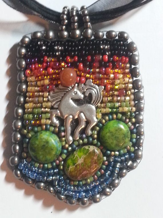 Sunset Stallion Bead Embroidered Necklace by ArabesqueArtsByDarcy, $120.00