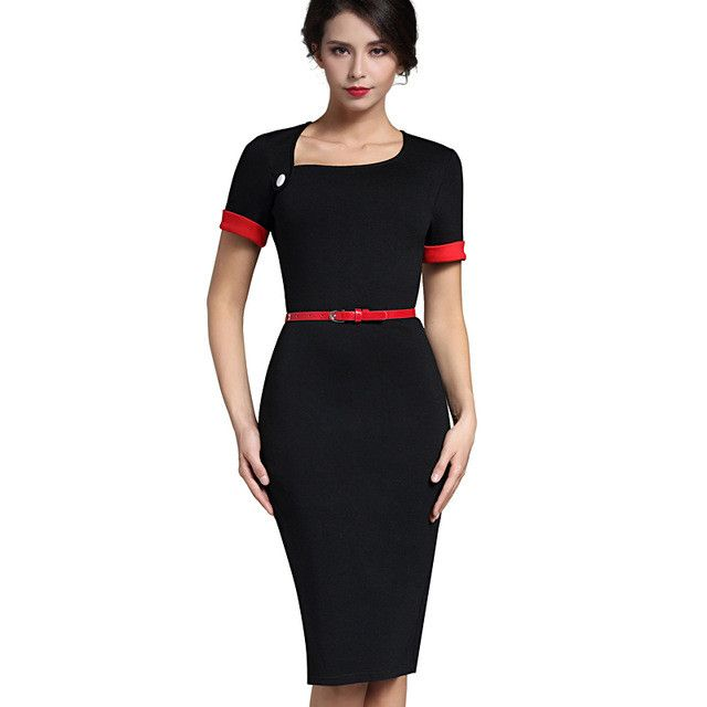 Nice-forever Classic Patchwork Short Sleeve Mature Stylish Casual Work Leaf Neck Bodycon Women Office Pencil Slim Dress B350