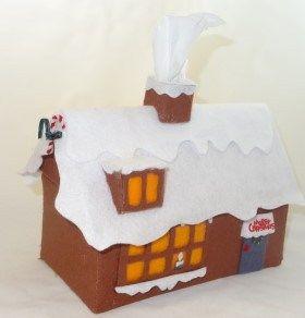Felt Christmas House – Tissue Box — craftbits.com