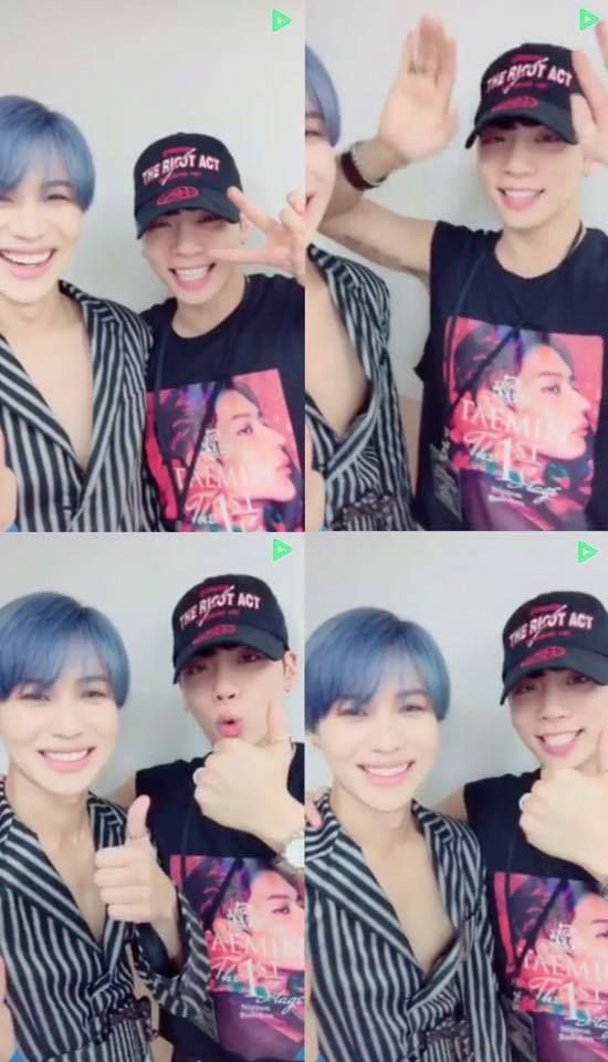 Jonghyun went to Taemin's concert all fan-boyed out!!! I love it!!