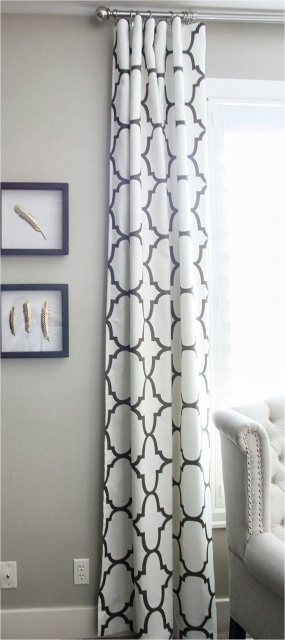 Pair of  50 x 92 Charcoal and Ivory Quatrefoil Grommet by avecdieu, $320.00