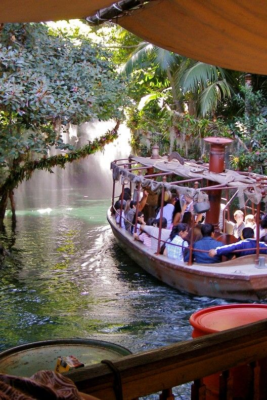 "Disneyland's Jungle River Cruise | Dennis Brown 360. The original African Queen-style river boats were repainted and ""weathered"" in anticipation of Indiana Jones attraction in 1993. In 1994 the river channel was rerouted to make way for the queue buildings and entrance courtyard as well."