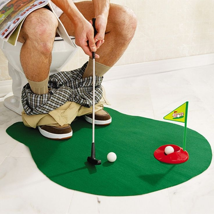 Toilet Golf - A hole lot of fun and great practice for the crap golfer! The toilet time golf game lets you practice your putting while going to the bathroom. Sure it sounds funny, but for the golfer that just can't get enough of the game, it's the perfect item. The Potty Putter converts previously wasted time into a productive practice session, turning those bogies into birdies. Even without picking up the putter, it adds a manly touch to your interior decorating!