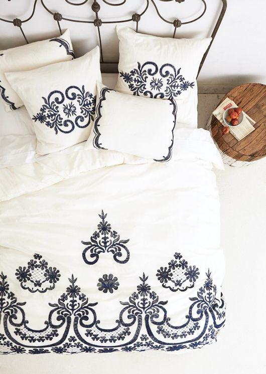 samirah black & white embroidered bedding / anthropologie