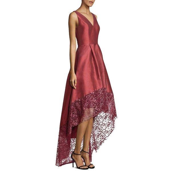 ML Monique Lhuillier Lace Trim Hi-Lo Gown (12.085 ARS) ❤ liked on ...