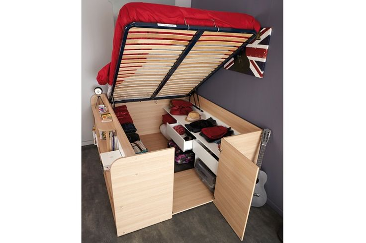 The main features of the Space-Up Double Bed are:  Ideal solution for compact spaces Manufactured from high density particle board with Baltimore Oak and White foil finish Raised double bed Includes bookcase and shelving to one side and plentiful storage underneath Step to access the bed Gas lift mechanism Useful shelves and drawers under the bed Magnetic latch to door access Requires 1x 4ft6 Double Mattress The Space-Up Double Bed is Self-Assembly