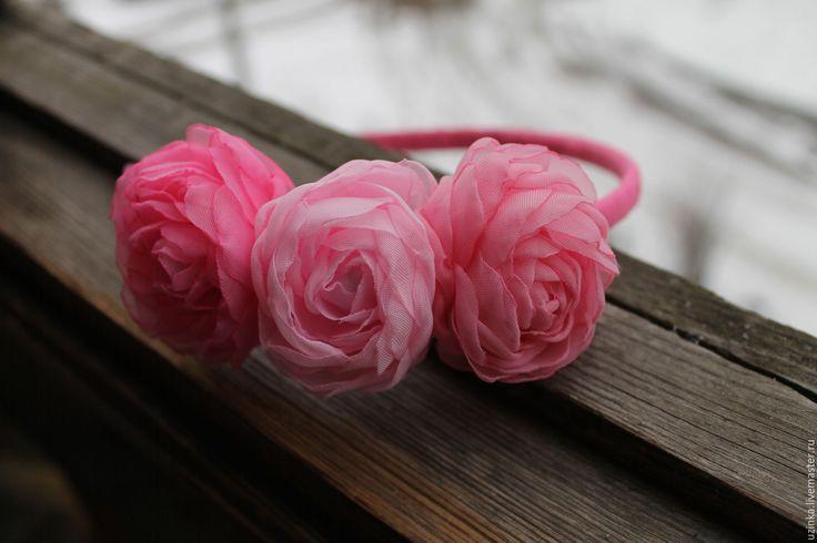 """Купить Ободочек для волос с цветами """"Розовые розы"""" - розовый, розовые розы, ободок с цветами"""