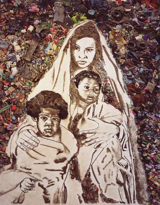 """Suellen as Madonna and Child by Vic Muniz, another picture from his series Pictures of Garbage, and featured in the documentary """"Waste Land."""" Amazing stuff."""