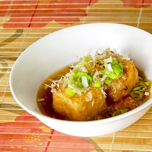 Japanese food: Agedashi Tofu - deep fried silken tofu with warm soy and dashi broth. pickledplum.com food recipes