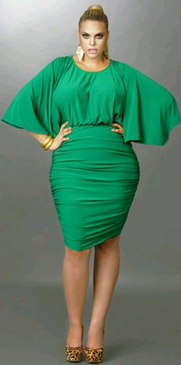 Monif C. Green Batwing Dress Plus Size Style Inspiration Apparel Clothing Design #UNIQUE_WOMENS_FASHION