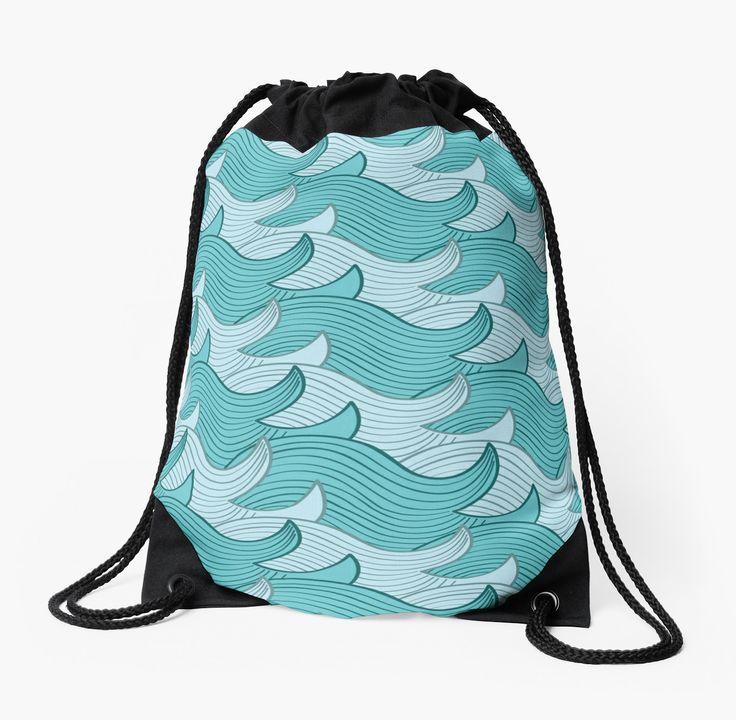 California Surf Wave Pattern Illustration by Gordon White | California Surf Drawstring Bag Available @redbubble --------------------------- #redbubble #stickers #california #losangeles #la #surf #wave #cute #adorable #pattern #drawstring #bag
