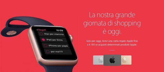 Black Friday: carta regalo fino a 150 se acquisti determinati prodotti Apple