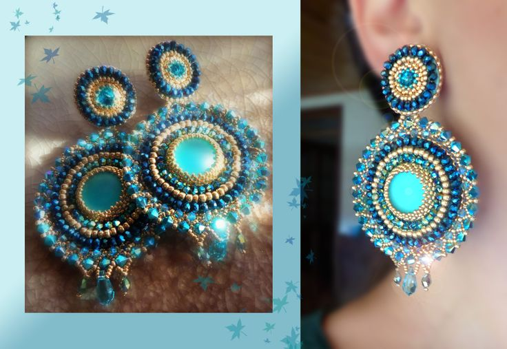 Bead embroidery - earrings --- design by Serena Di Mercione