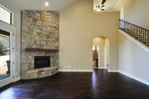 I love those floors and that corner fireplace. e those floors and thWall Colors, Bathroom Design, Stones Fireplaces, Fireplaces Design, Living Room Design, Custom Home, Corner Fireplaces, Traditional Living Rooms, Stone Fireplaces