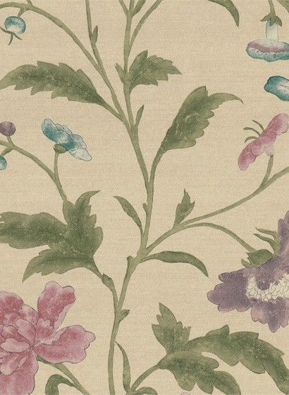 Blumen in Aquarelltechnik: Little Greene Tapete China Rose - Sage #britisch #englisch #design #floral #esszimmer