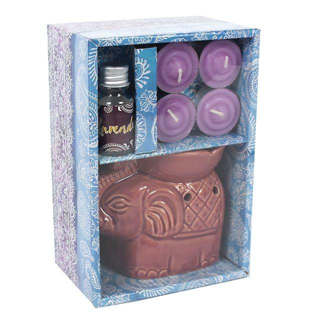 Small Purple Elephant Oil Burner Set