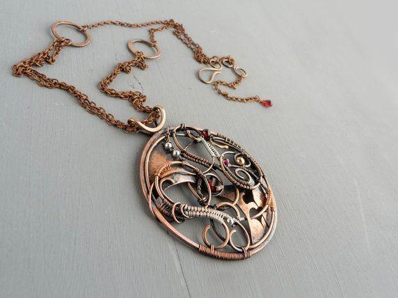 Universe wire copper pendant  sterling silver by UrsulaJewelry